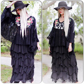 OS Boho Johnny Was Black poncho, Boho lace poncho, Bohemian Johnny Was Festival tunic poncho top, Hippie  True rebel clothing