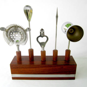 Bar Ware Set With Wood Base Bar Tools Specialty Cocktails Accessories