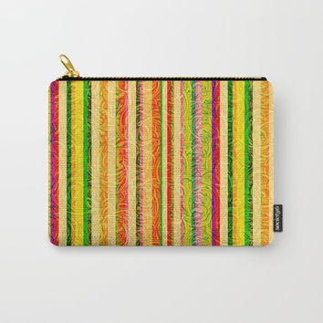 Colorful Stripes and Curls Carry-All Pouch by gx9designs