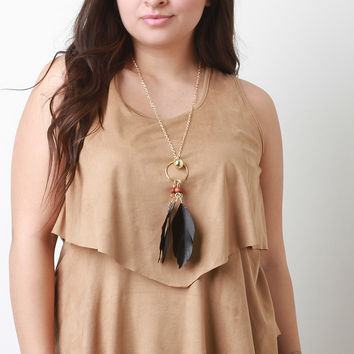 Feather Necklace Suede Tier Sleeveless Top