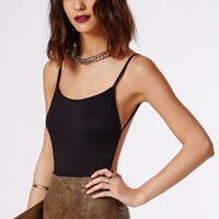 Missguided - Purdy Backless Crepe Bodysuit Black