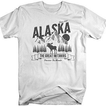Shirts By Sarah Men's Alaska T-Shirt Great Outdoors Moose Tee Camping Adventure Shirt
