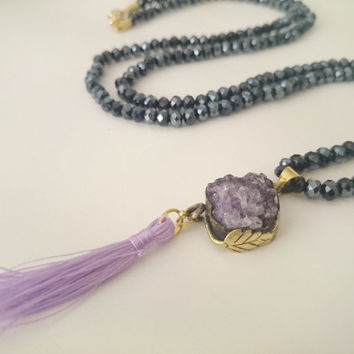Raw Amethyst Cluster Necklace with Tassel/ Gold Plated Amethyst Stone Pendant/ Tassel Necklace/ Amethyst Healing Necklace/ Crystal Necklace