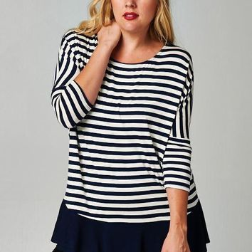 Plus Size Stripe Blouse with Solid Hem - Navy