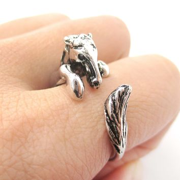 Detailed Horse Pony Animal Wrap Around Ring in Shiny Silver | US Size 4 to 9