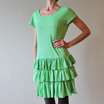 90s Neon Green Dress Polka Dot Skater Ruffles Gown Vintage Short Sleeve Medium or Large Stretchy Knee Length