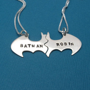 Batman Best Friend necklaces, Personalized Friendship sterling silver CHAINS