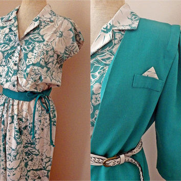 Vintage 70s Womens Dress and Jacket Set // Blue Green and Off White // Small Medium
