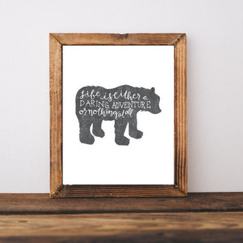 wall art prints, hand lettering prints, grizzly bear, adventure poster,