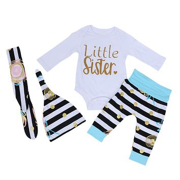 Newborn Kids Baby Outfits Clothes Print Romper+Long Pants+Hat+Headband Baby Children Autumn Clothing Set