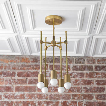 Gold Chandelier - Modern Brass Lights - Mid Century Lamp - Sputnik - Hallway Lighting - Light Fixture