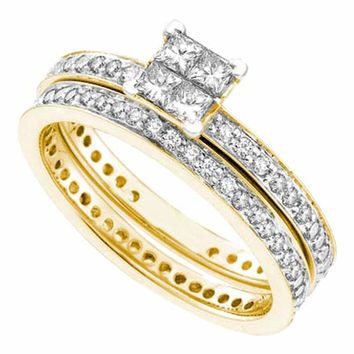 14kt Yellow Gold Womens Princess Diamond Eternity Bridal Wedding Engagement Ring Band Set 1 Cttw