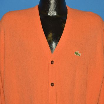 70s Izod Lacoste Orange Cardigan Sweater Large
