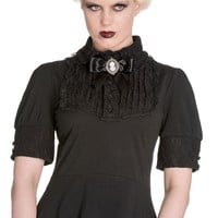 Spin Doctor Victorian Steampunk Black Lace Insert Top with Cameo Brooch