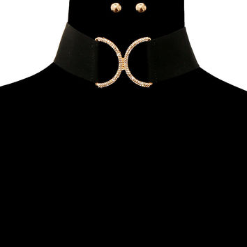 Bling Rhinestone FAUX SUEDE CHOKER Statement Necklace & Earrings-Black & Gold
