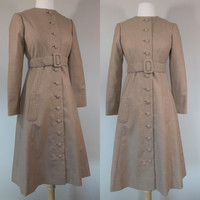 Vintage 60s wool coat dress, brown, small