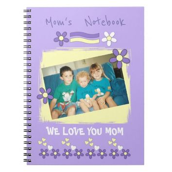 Mom purple yellow photo personalized Notebook