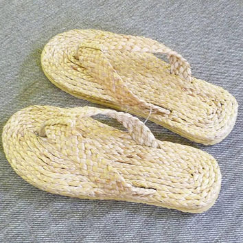 Flip flop sandals Wicker sandals Water hyacinth sandals F ,off white shoes handmade slippers ,cute slippers