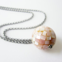 Pink Mother of Pearl Bead Long Silver Necklace by JMariejewelrySF