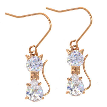 Dear Deer Rose Gold Plated Cute Cat Drop Dangle Earrings