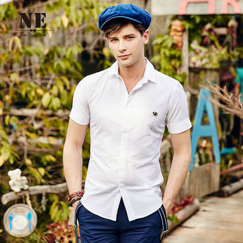 Summer England Style Simple Design Slim Shirt [7951289411]