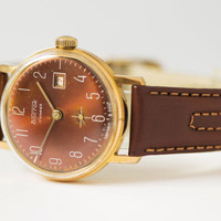 Mint condition men's wrist watch gold plated Vostok brick red face mechanical watch Russian premium leather strap