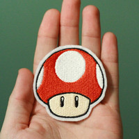 SUPER MUSHROOM --Nintendo Throwback Customizable Embroidered Iron-on Mario Patch
