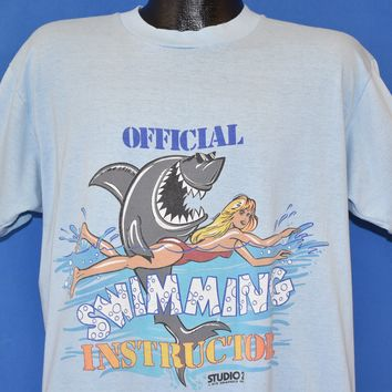 80s Official Swimming Instructor Shark t-shirt Extra Large