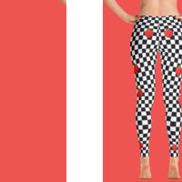 90s GRUNGE CHECKER STRAWBERRY -TUMBLR AESTHETIC KAWAII LEGGINGS ( MADE IN USA)
