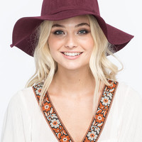 Felt Womens Floppy Hat Burgundy One Size For Women 25705132001