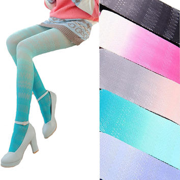 New Fashion Japanese Lace Lolita Stockings Sexy Lady Women Fishnet Tights Kawaii Gradient Color Pantyhose Factory Outlet