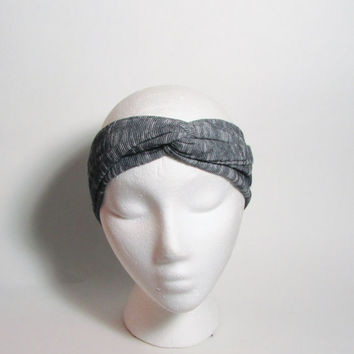 Black and Gray Jersey Turban Headband, Head Bands, Hair Wrap, Women Accessories, Hair Fashion, Turband Hair Band, Hairband, Knot Hair Wrap