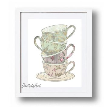 Tea cups print Antique floral tea cups Pink  sage Flower Tea Cups printable Cup stack Antique cups art 5x7 8x10 11x14 16x2 INSTANT DOWNLOAD