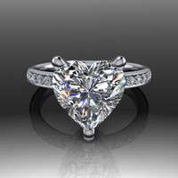 Forever Brilliant Moissanite Heart and Diamond Engagement Ring 3.33 CTW