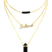 Onyx Quartz 3 Chain Believe Necklace
