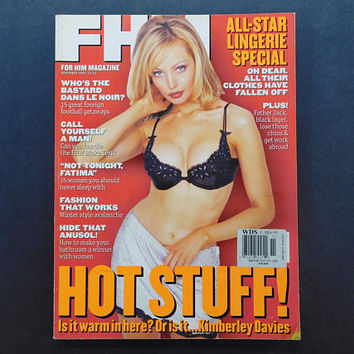 1990s Vintage / FHM Magazine / For Him Magazine / November 1996 / Kimberley Davies / British Mens Magazine / 90s Fashion / Storm Watch