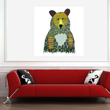 Multicolored Bear Art Print - Home Decor Nursery & Kids Room Art - Square Giclee Archival Print - Grizzly Bear