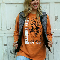 Oklahoma State Designed Tee- Long Sleeve Pete