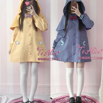 Card Captor Sakura Koro & SPINEL Cute 2pcs Set Winter Coat with Short Hooded Cape Sailor Collar Bow Pin Long Sleeve Outwear