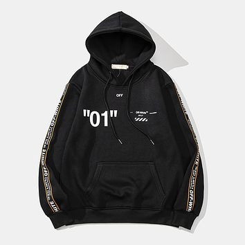 OFF-WHITE 2018 autumn and winter new string and velvet men and women hooded sweater Black