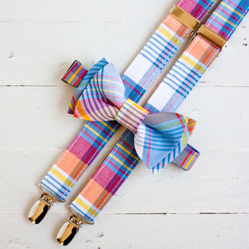 The Beau- preppy plaid bow tie/suspender set for boys of all ages (9 plaids to choose from)- nickel hardware/not gold