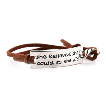 She Believed She Could So She Did Bracelets Simple Leather Fashion Jewelry Inspirational Gift