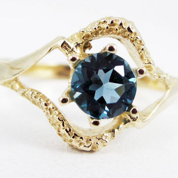 London Blue Topaz 14k Yellow Gold Textured Ring, December Birthstone Ring, London Blue Topaz Solitaire Ring, Solid 14 Karat Gold Ring