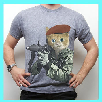 Kitty, Cat, Kitten with RPG, Cat t-shirt, GI Kitty, American Apparel, Available S-XL