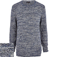River Island MensNavy longer length sweater