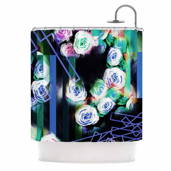 "Dawid Roc ""Cool Roses-Floral Stripes "" Blue Green Shower Curtain"