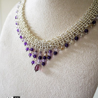 Chainmaille Jewelry Necklace- sliver plated-Ametrine & Amethyst
