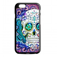 Colourful Mandala Sugar Skull Flowers For iPhone 6 case