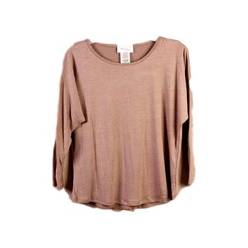 Girls 3/4 Sleeve Piko-Style Tunic, Chocolate