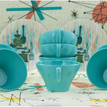 Turquoise Texas Ware Cups and Saucers Aqua Melmac Tea Coffee Cups Melamine 1950s Mid Century Retro Kitchen Motif Plastic Teacups